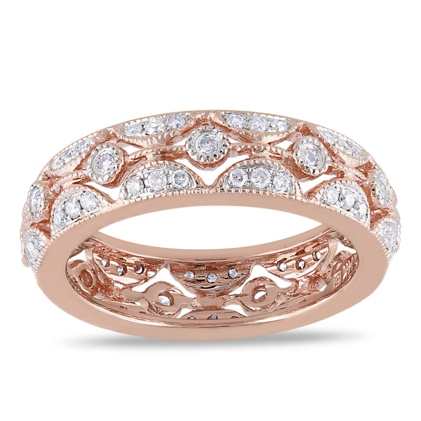 Miadora 14k Rose Gold 1/2ct TDW Diamond Ring