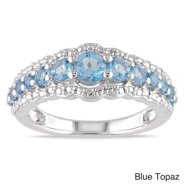Miadora Sterling Silver Prong-set Gemstone Ring