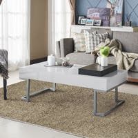 Furniture of America Cassie Glossy White-finished Coffee Table with Serving Tray