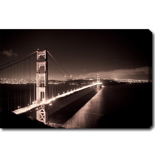 X27 Golden Gate Bridge At Night Canvas Art Black