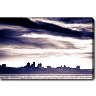'A Stormy San Francisco' Canvas Art - Navy Blue