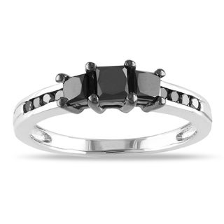 Miadora Sterling Silver 1ct TDW Princess-cut Black Diamond Ring