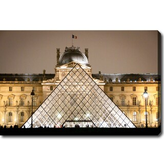 'Louvre at Night' Canvas Art