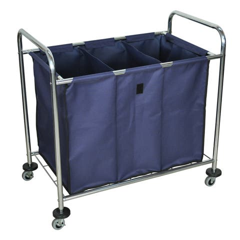 Luxor HL15 Laundry Cart with Navy Cloth Laundry Bag - Single
