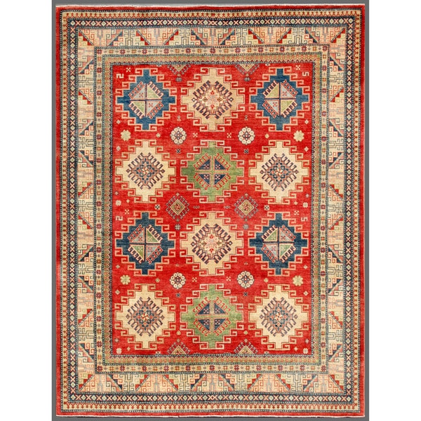 Afghan Hand-knotted Kazak Red/ Ivory Wool Rug (7'11 x 10'4)