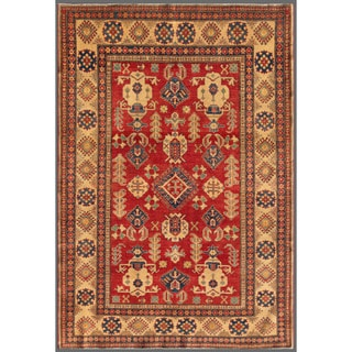 Herat Oriental Afghan Hand-knotted Kazak Red/ Beige Wool Rug (6'7 x 9'7)