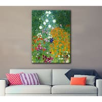 Gustav Klimt 'Farm Garden' Gallery-wrapped Canvas Art - multi