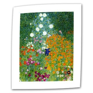 Gustav Klimt 'Farm Garden' Flat Canvas Art - Multi