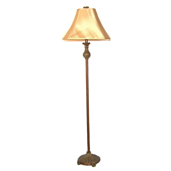 Aged Walnut Traditional Floor Lamp
