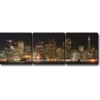 'Night in San Francisco' Canvas Art (Set of 3)