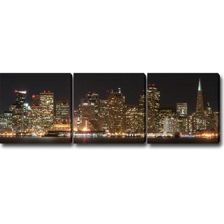 'Night in San Francisco' Canvas Art (Set of 3)