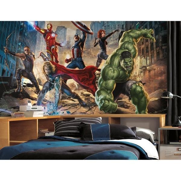 Avengers Chair Rail Prepasted Wall Art Mural (6' x 10.5')