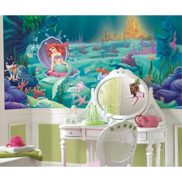 The Little Mermaid Chair Rail Prepasted Wall Art Mural (6' x 10.5')