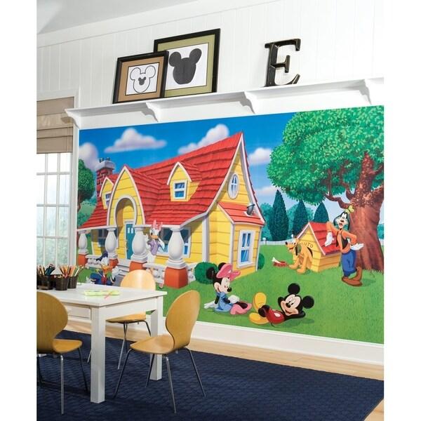 Mickey & Friends Chair Rail Prepasted Wall Art Mural (6' x 10.5')