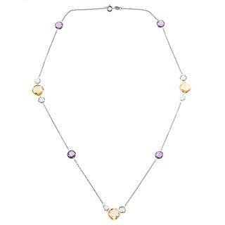 La Preciosa Sterling Silver Green/ Purple Amethyst and Citrine Necklace