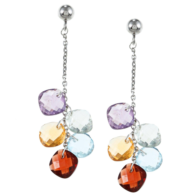 La Preciosa Sterling Silver Multi-gemstone Dangle Earring...