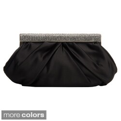 J. Furmani Women's Rhinestone Hinge Satin Clutch