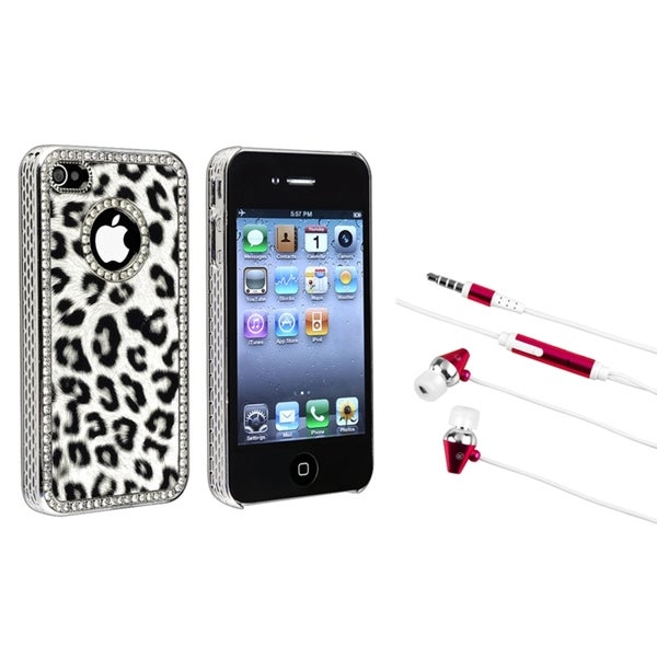 BasAcc Grey Leopard Case/ Hot Pink Headset for Apple iPhone 4/ 4S