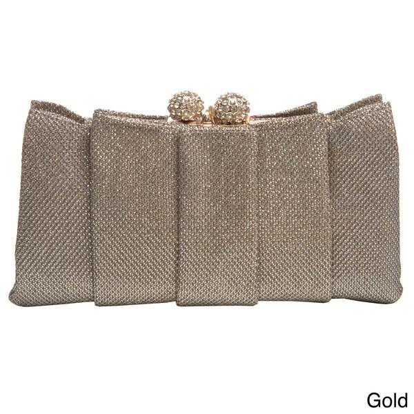J. Furmani Women's Weaved Metallic Pleated Clutch