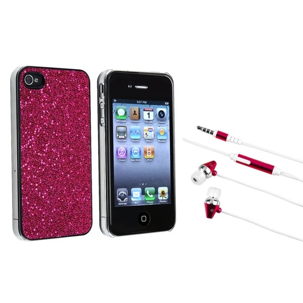 BasAcc Hot Pink Bling Case/ Hot Pink Headset for Apple iPhone 4/ 4S