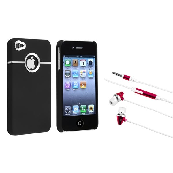 INSTEN Black/ Chrome Phone Case Cover/ Hot Pink Headset for Apple iPhone 4/ 4S