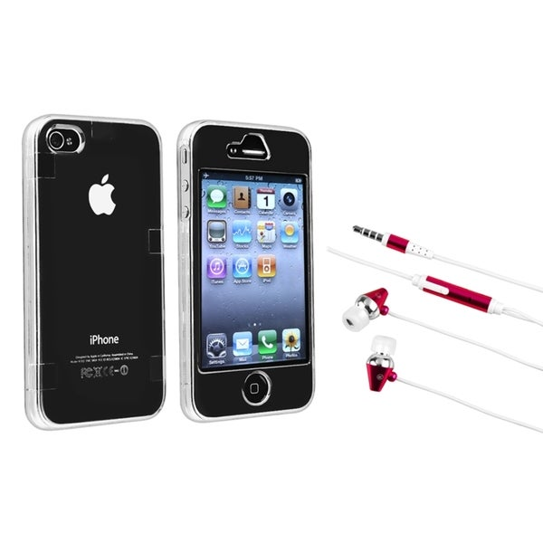 INSTEN Clear Crystal Phone Case Cover/ Hot Pink Headset for Apple iPhone 4/ 4S
