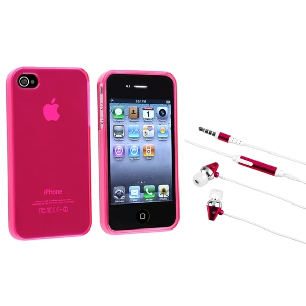 INSTEN Frost Hot Pink Phone Case Cover/ Hot Pink Headset for Apple iPhone 4/ 4S