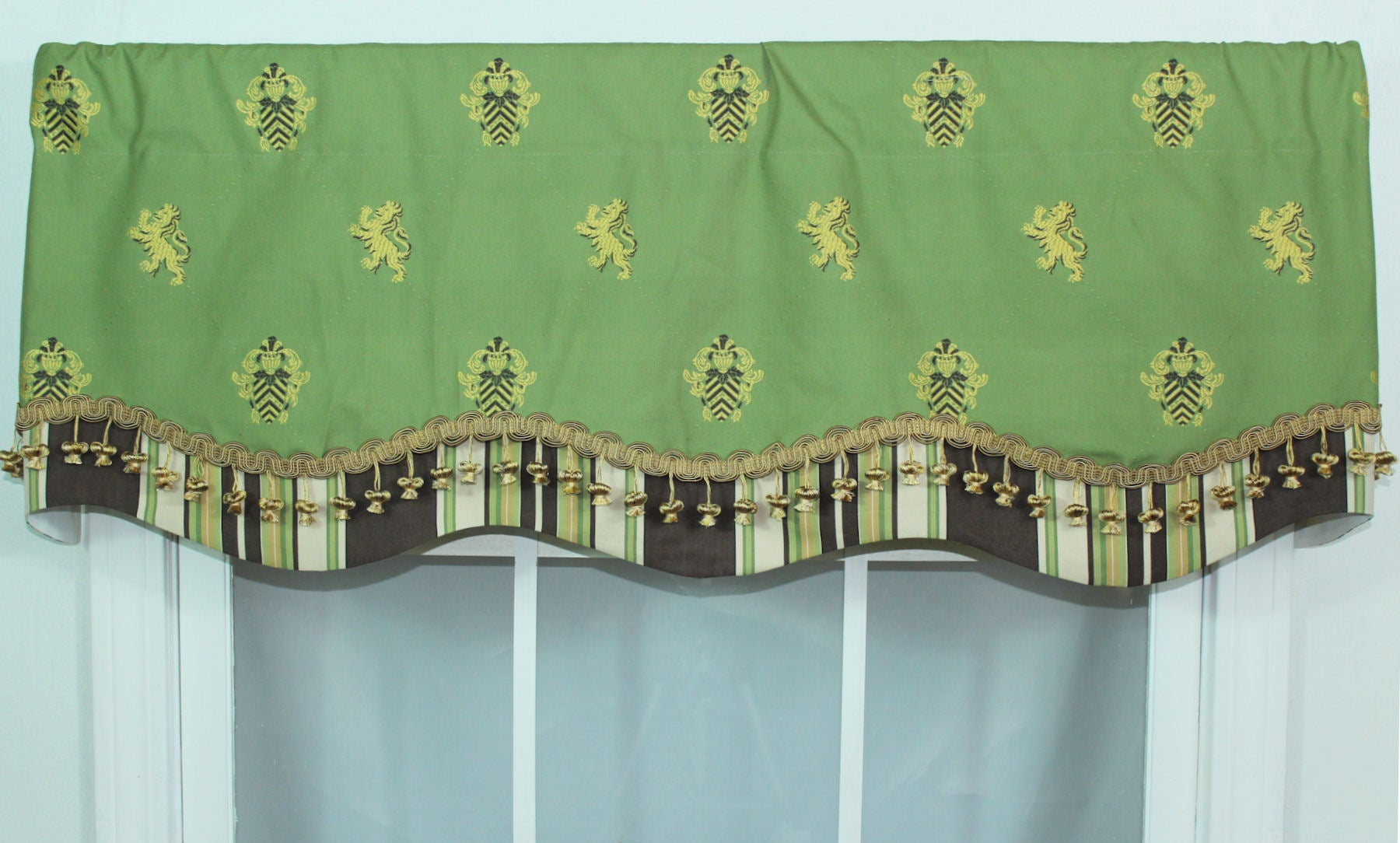 Flower Pot Embroidered Green Valance Free Shipping Today
