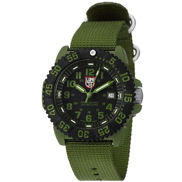 Luminox Men's 'OPS' Black Dial Green Nylon Strap Quartz Watch
