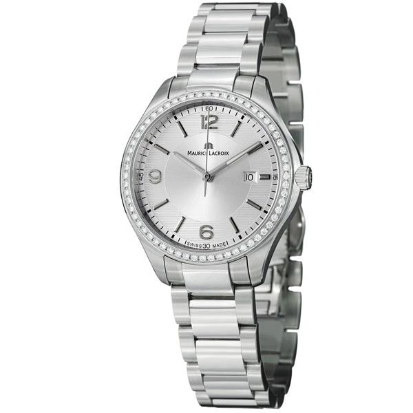 Maurice Lacroix Women's 'Miros' Silver Diamond Dial Steel Quartz Watch. Opens flyout.