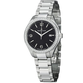 Maurice Lacriox Women's MI1014-SD502-330 'Miros' Black Diamond Dial Steel Quartz Watch