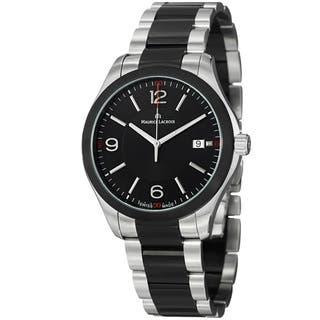 Maurice Lacroix Men's MI1018-SS002-331 'Miros' Black Dial Two Tone Steel Quartz Watch|https://ak1.ostkcdn.com/images/products/7654448/7654448/Maurice-Lacroix-Mens-Miros-Black-Dial-Two-Tone-Steel-Quartz-Watch-P15069079.jpeg?impolicy=medium