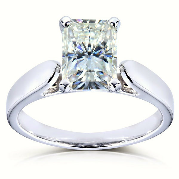 Annello by Kobelli 14k White Gold 1 1/5ct Radiant Moissanite Solitaire 4-prong Engagement Ring