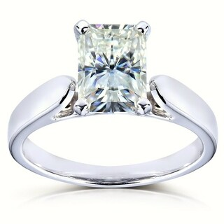 Annello by Kobelli 14k White Gold 1 1/5ct Radiant Moissanite (HI) Solitaire 4-prong Engagement Ring