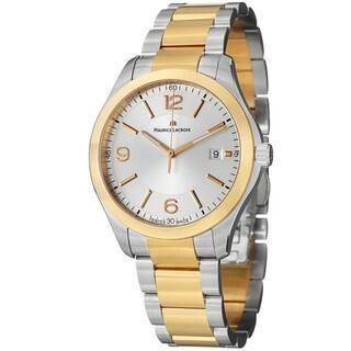 Maurice Lacroix Men's MI1018-PVP13-130 'Miros' Silver Dial Two Tone Steel Quartz Watch|https://ak1.ostkcdn.com/images/products/7654460/7654460/Maurice-Lacroix-Mens-Miros-Silver-Dial-Two-Tone-Steel-Quartz-Watch-P15069082.jpeg?impolicy=medium