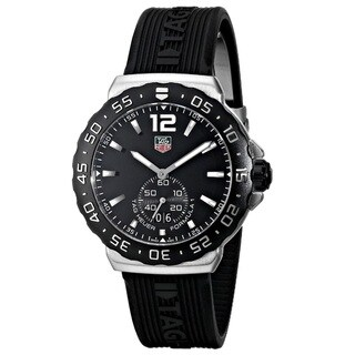 Link to Tag Heuer Men's WAU1110.FT6024 'Formula 1' Black Dial Black Rubber Strap Quartz Watch Similar Items in Men's Watches