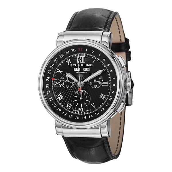 Stuhrling Prestige Men's Sparta Stainless Steel-Bezel Swiss Quartz Leather-Strap Watch