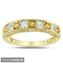 Miadora Rose or Yellow Plated Silver Multi-Gemstone Ring