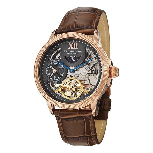 Stuhrling Original Men's DT Bridge Automatic Leather Strap Watch