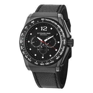 Stuhrling Original Men's Concorso Tonneau Quartz Black Leather Strap Watch