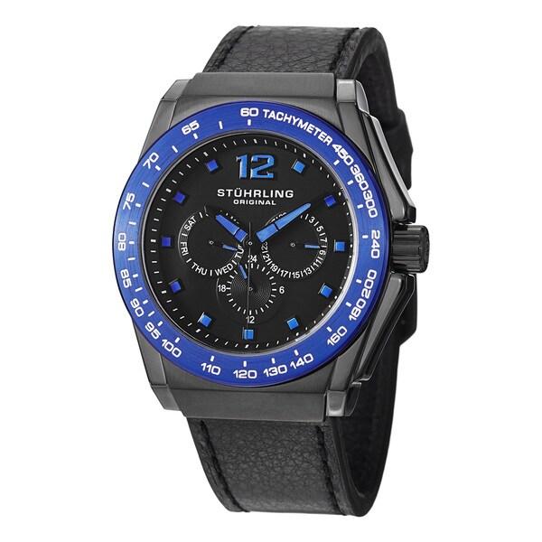 Stuhrling Original Men's Concorso Tonneau Quartz Leather Strap Watch