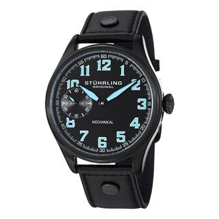 Stuhrling Original Men's Legacy Sport Mechanical Leather Strap Watch - black