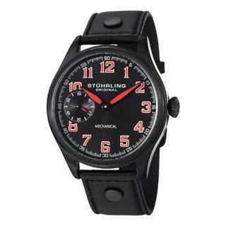Stuhrling Original Men's Legacy Sport Mechanical Black-Dial Leather-Strap Watch