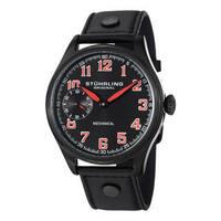 Stuhrling Original Men's Legacy Sport Mechanical Black-Dial Leather-Strap Watch - black