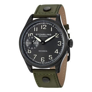 Stuhrling Original Men's Legacy Sport Mechanical Green-Leather-Strap Watch