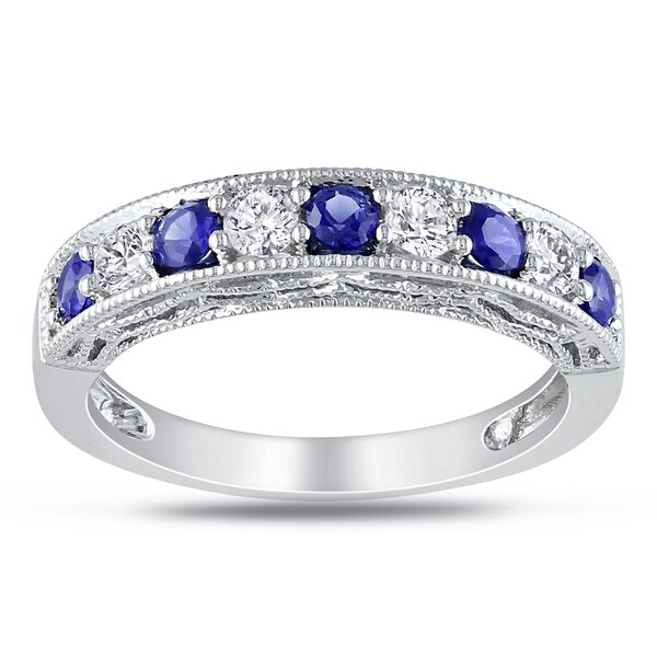 Miadora Sterling Silver Round-cut Gemstone Stackable Anniversary Ring