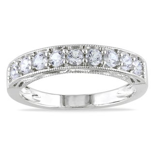 Miadora Sterling Silver White Sapphire and Gemstone Stackable Anniversary Ring (More options available)