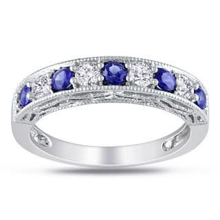 Miadora Sterling Silver White Sapphire and Gemstone Stackable Anniversary Ring|https://ak1.ostkcdn.com/images/products/7654508/P15069124.jpg?impolicy=medium