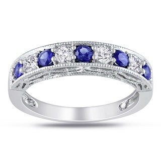 Miadora Sterling Silver White Sapphire and Gemstone Stackable Anniversary Ring