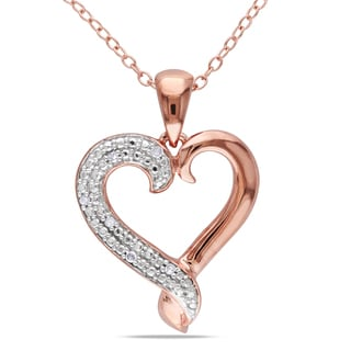 Miadora Rose Plated Silver Diamond Heart Necklace